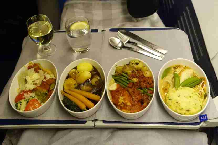 ALL of the business-class entrees.