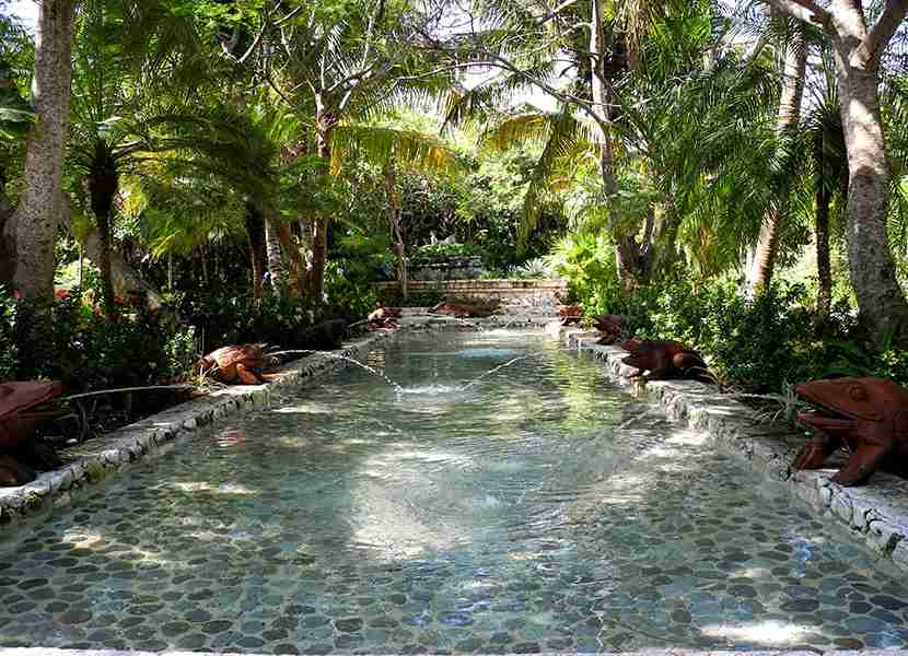 One of the many charming water features at the Belmond Maroma Kinan Spa