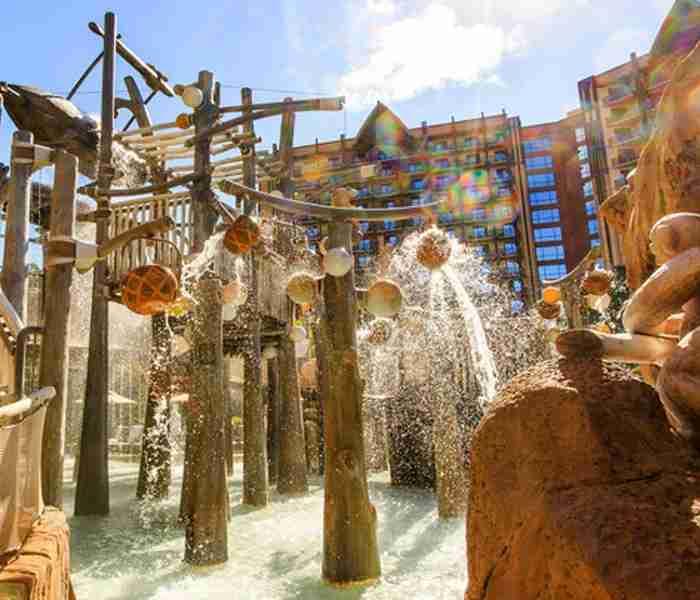 The Menehune Bridge at the pool at Aulani, A Disney Resort & Spa.