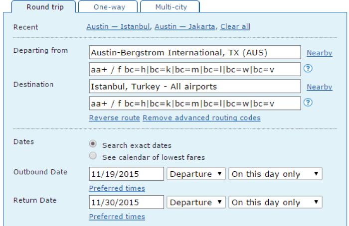 Example AA fare code search