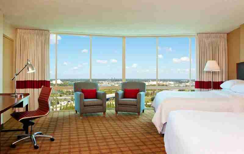 A deluxe room at the Four Points Orlando.