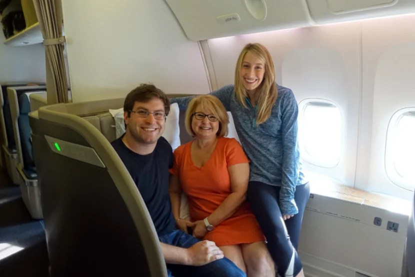 My family and me in Cathay Pacific first.
