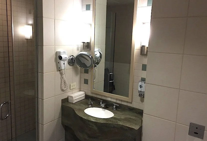 The sink in one of the shower suites.
