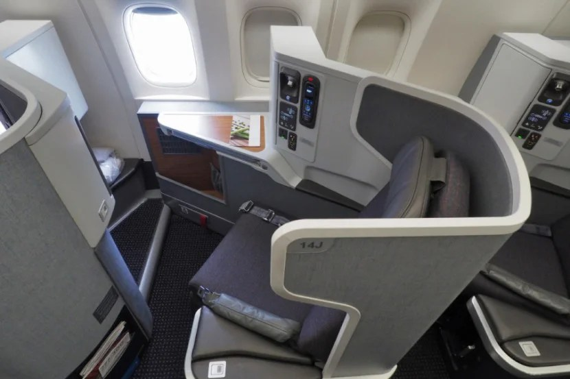 The seats on the 777-300ER have a bit more room and stowage.