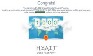 UR Hyatt transfer confirmation