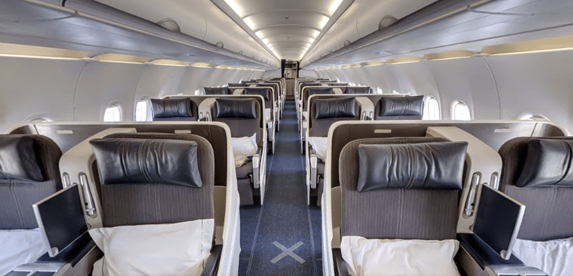 Seats aboard the airline's all-business-class A318 all face forward.
