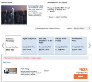 A standard room (Park King) at the Hyatt Daily Rate should be bookable using points.
