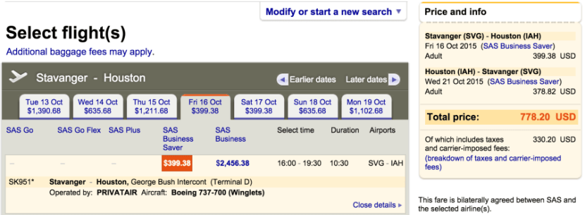 SAS business for just $778 round-trip.