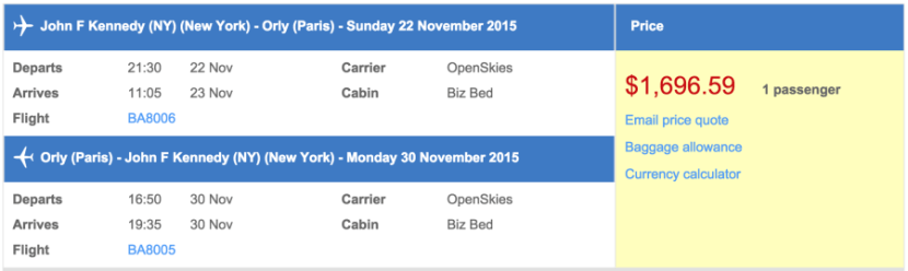 New York (JFK) to Paris (ORY) in business class on OpenSkies for $1,697.