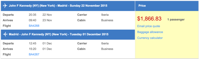 New York (JFK) to Madrid (MAD) in business class on Iberia for $1,867.