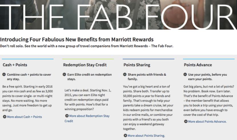 Marriott's Fab Four program changes.