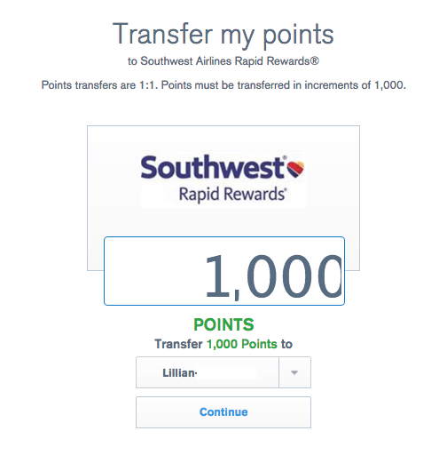 Can you transfer southwest points back to chase