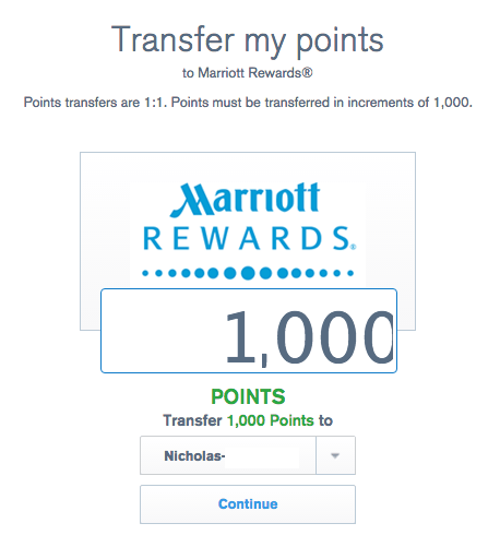 UR transfer to Marriott