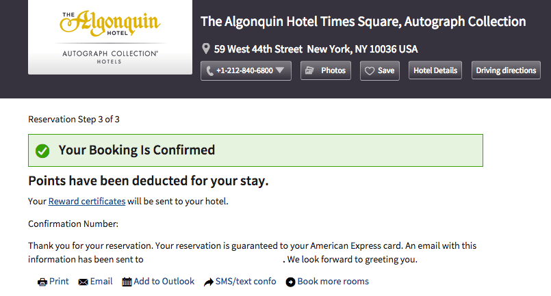 Marriott award stay confirmation