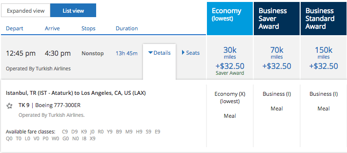 Eight business seats for Istanbul to Los Angeles in July.