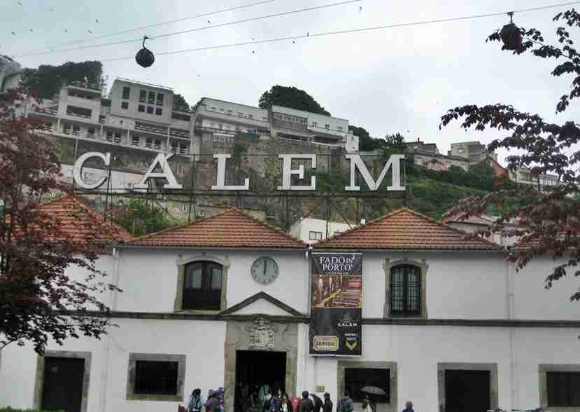 The Calem winery with the cable car flying overhead