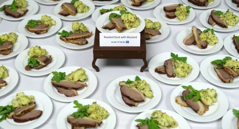 Roasted duck with honey mustard on United's new Fall 2015 in-flight menu.