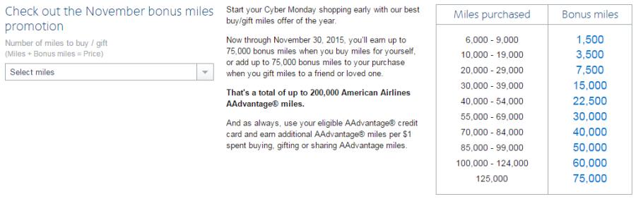 AA November bonus