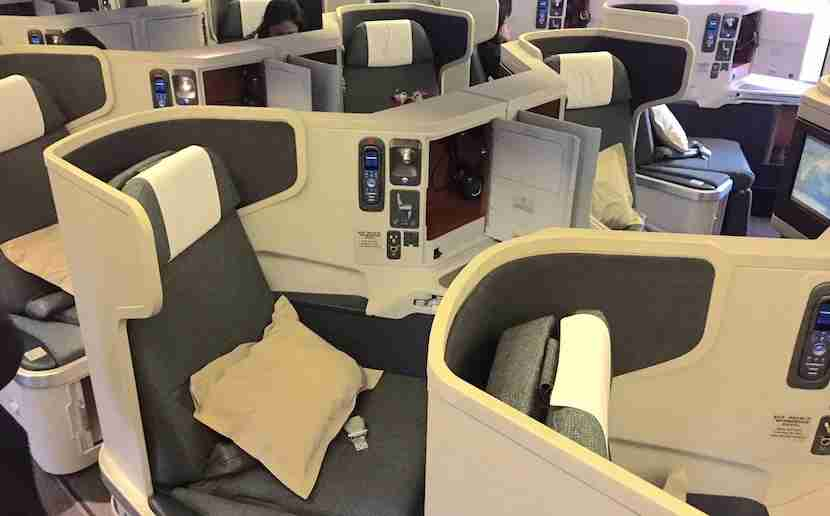 The business-class seats on Cathay