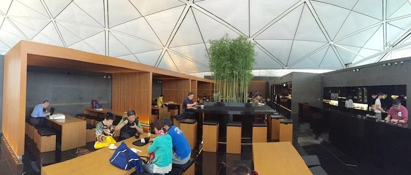 Cathay's Wing Lounge in Hong Kong has a noodle bar that's a favorite among frequent flyers.