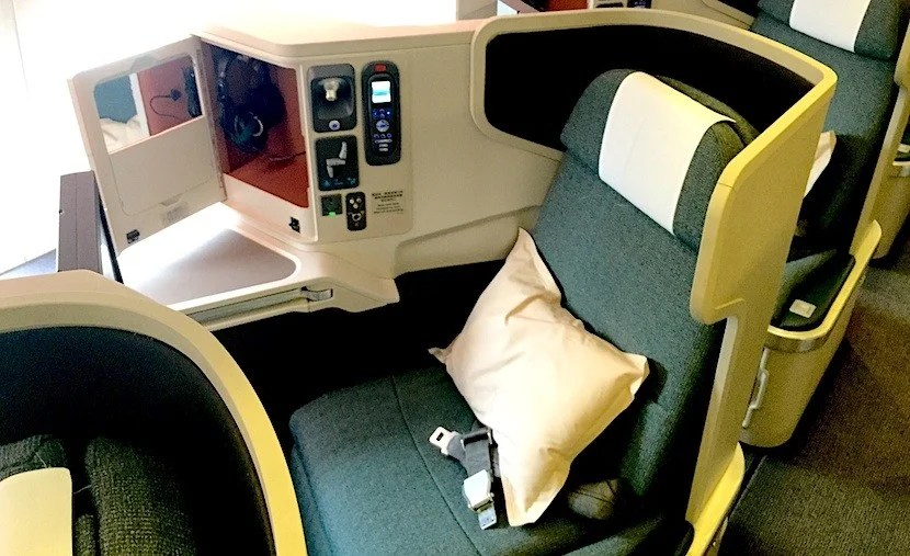 Cathay's seats were among the first of the popular reverse-herringbone style out there. Photo by Eric Rosen.