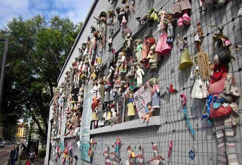 The Navigli district always has something interesting going on, like this wall of dolls.
