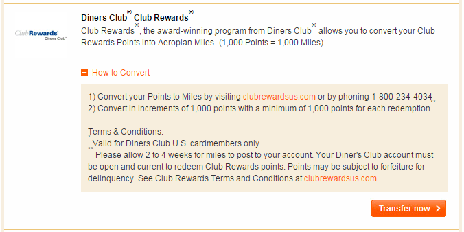 Diners Club points transfer 1:1 to Aeroplan miles in increments of 1,000 points.