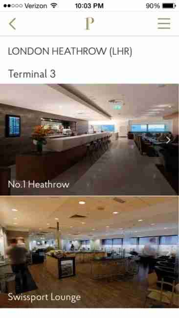 The Priority Pass app shows the lounges broken down by terminal.