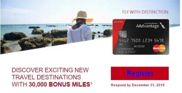 Targeted bonus offer with the AAdvantage Aviator Red MasterCard.