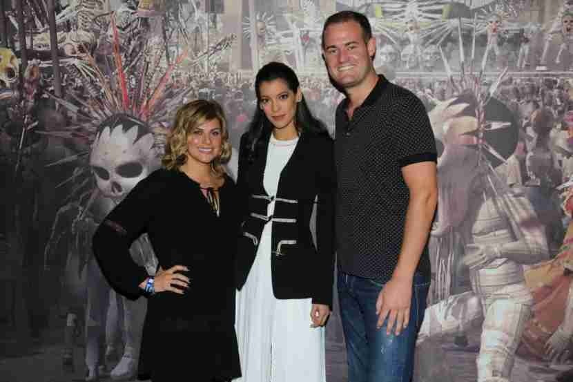 My friend, Kate, and I with Stephanie Sigman who plays Estrella in the new James Bond movie, Spectre.