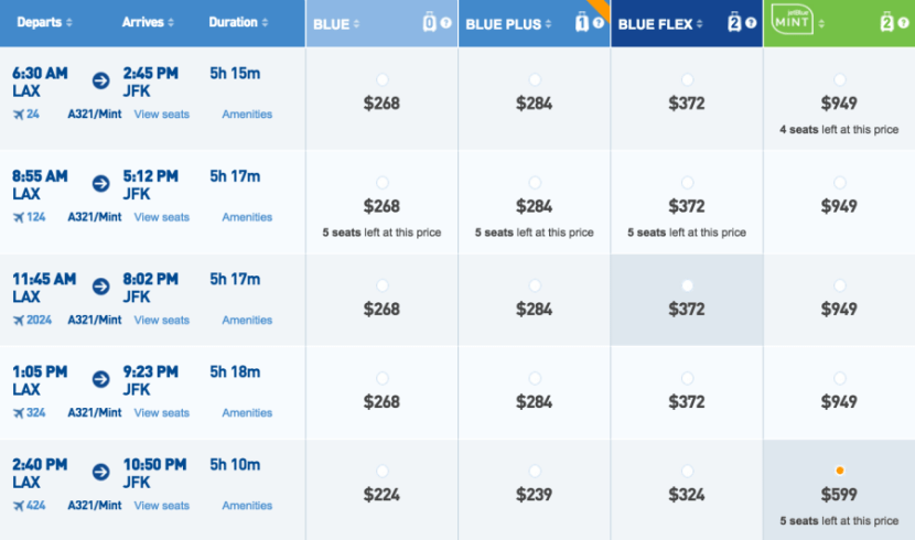 A sample flight from JFK-LAX for $599 with JetBlue Mint.