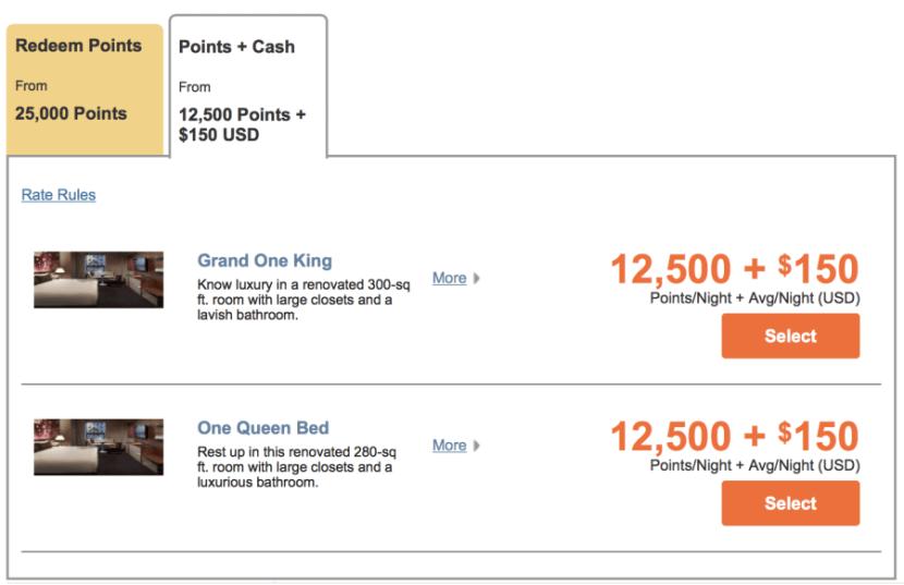 Grand Hyatt New York for 12,500 points + $150 per night.