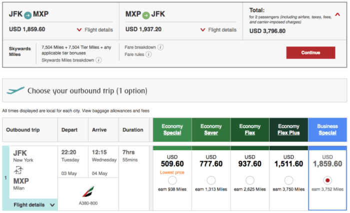 New York (JFK)-Milan (MXP) on Emirates in business for $1,900 per person.