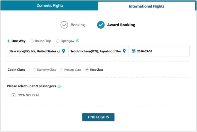 KE Award flight search