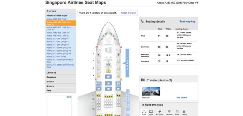 The seat map for the 777-300ER I was on.
