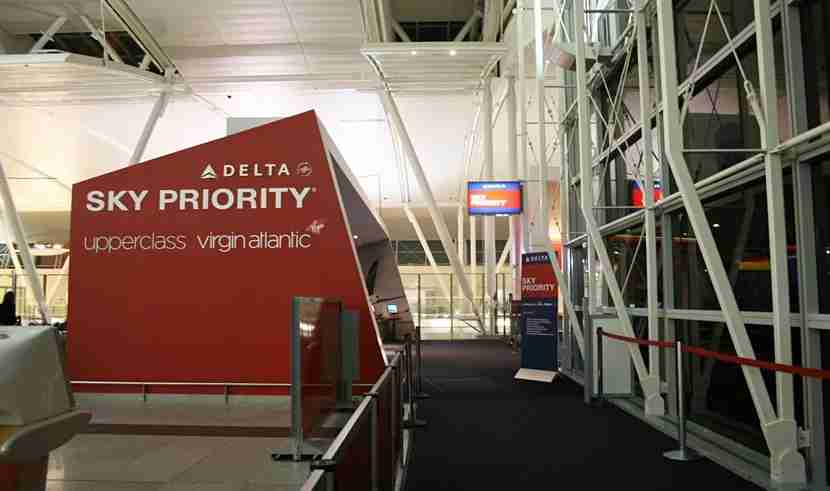 The dedicated Sky Priority check-in area at Terminal 4 in JFK.