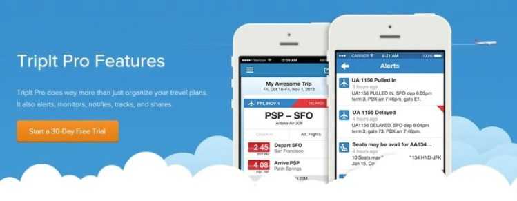 TripIt Pro offers a 30-day free trial offer.