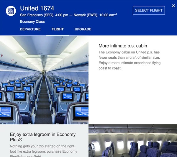 United also provides more information on Google Flights.
