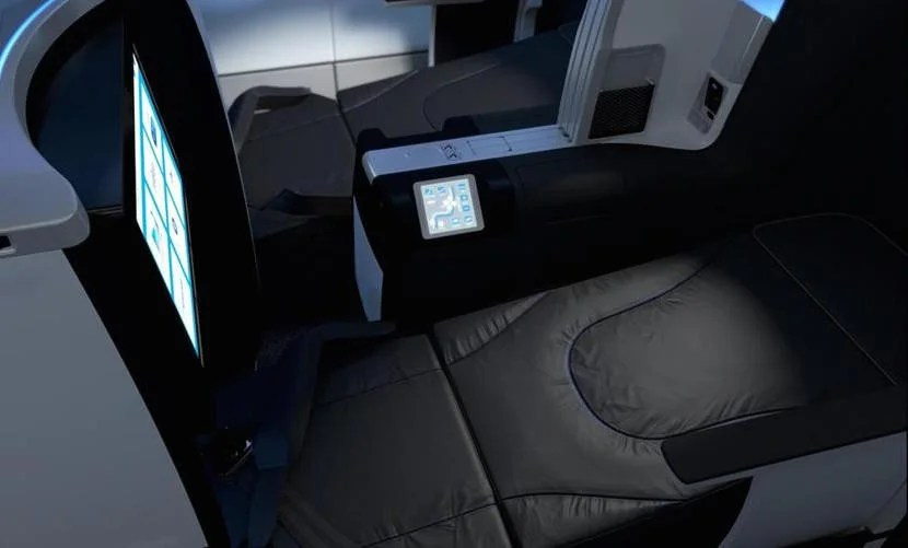 A Mint lie-flat seat with seatback entertainment. Image courtesy of JetBlue