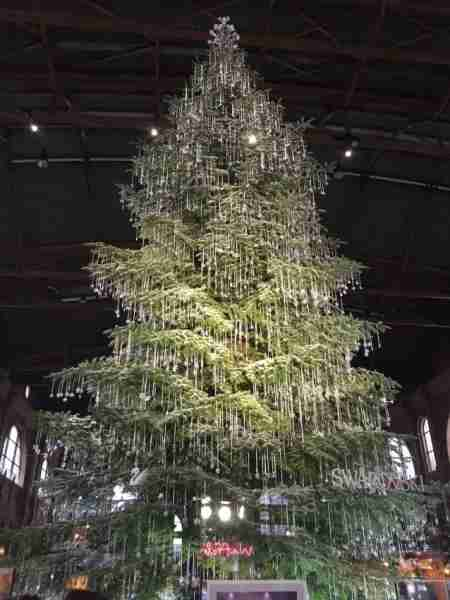 The 7,000 crystal ornaments on the Swarovski Christmas tree in Zurich