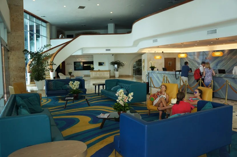 The lobby at the Hilton Cartagena Hotel is all about curves on curves.
