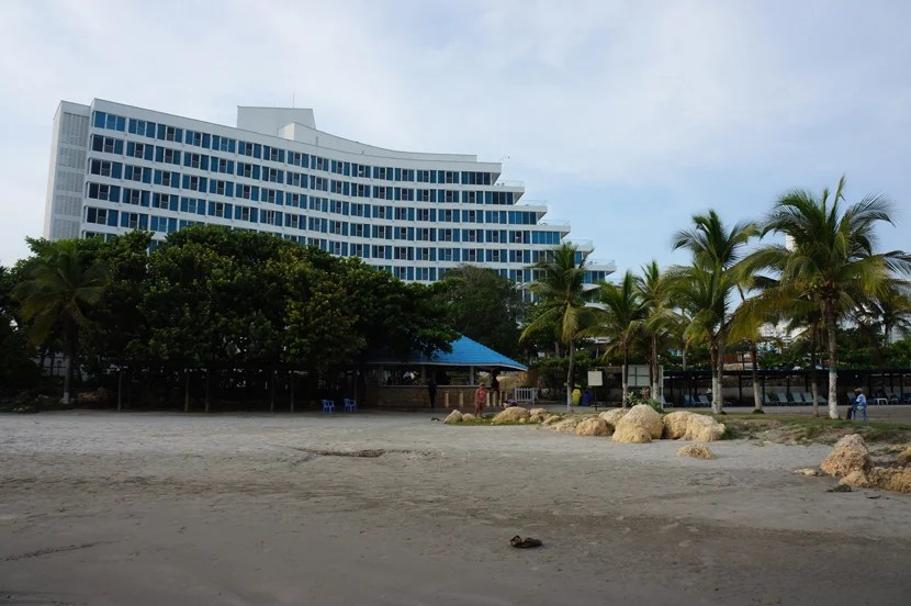 The Hilton Cartagena Hotel, as seen from its own private beach.