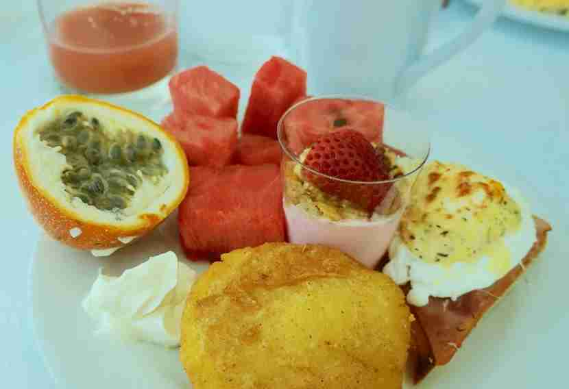 Oneof my trips to the breakfast buffet yielded passion fruit, guava juice, watermelon, an arepa and more.