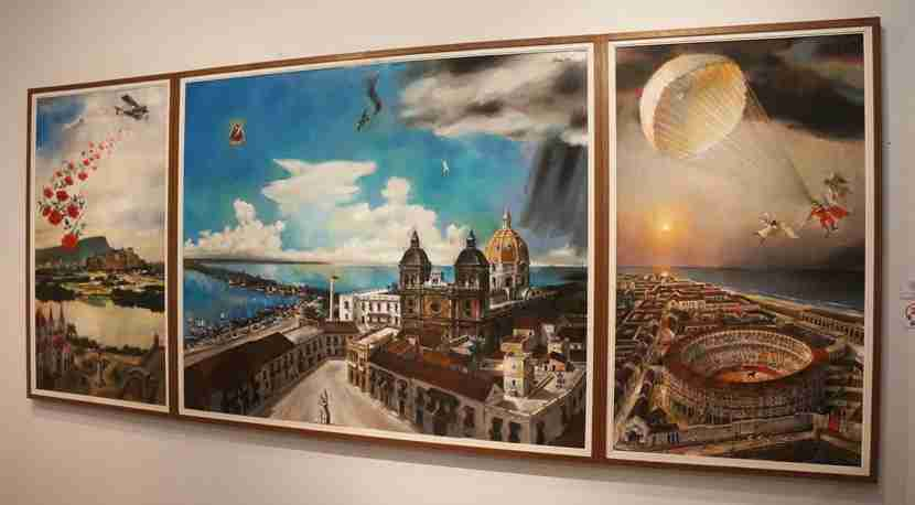 """Panoramica de Cartagena"" painted throughout the 1990s by Enrique Grau, Cartagena"