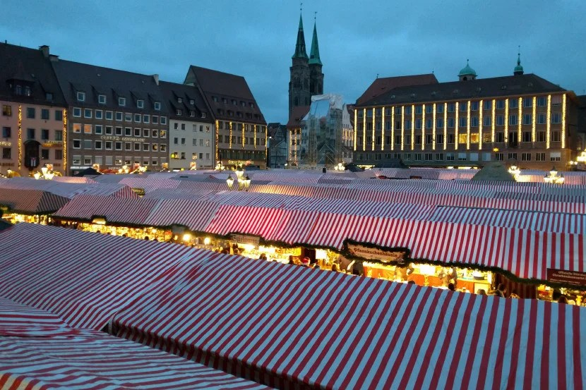A sea of stalls at Nuremberg's main square.