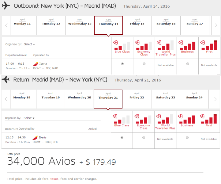 Use 34,000 Avios to fly nonstop from JFK to Madrid.