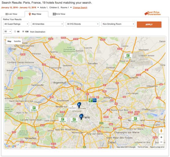 IHG Paris search map