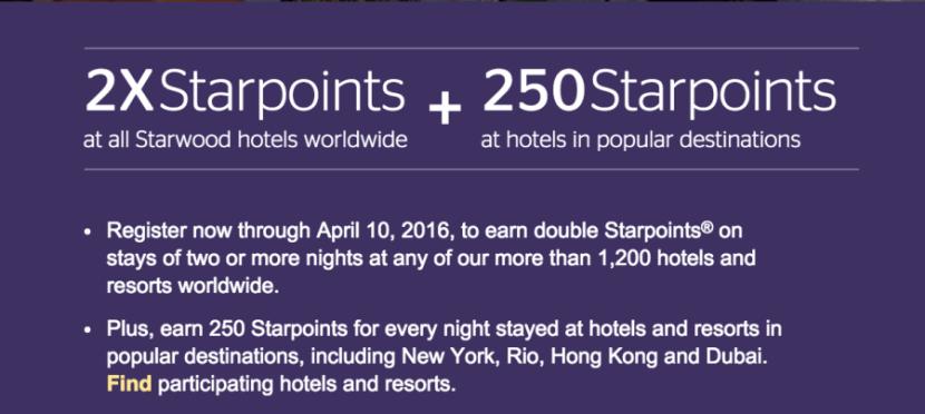Earn double Starpoints on stays in 2016.