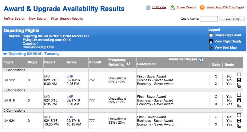 ExpertFlyer UA IAD-LHR results