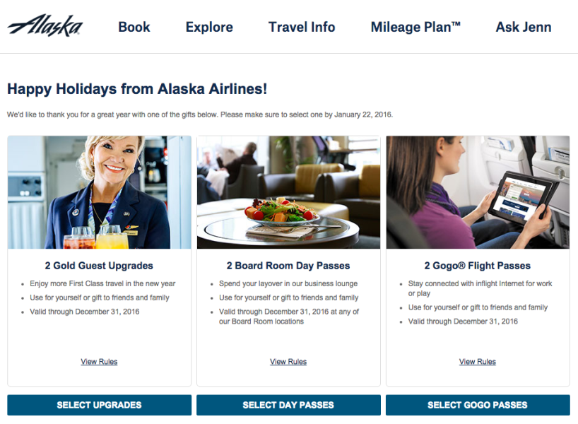 Select your 2015 gift from Alaska.